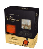 Clément - Gift box + glasses Old Rum 10 year old